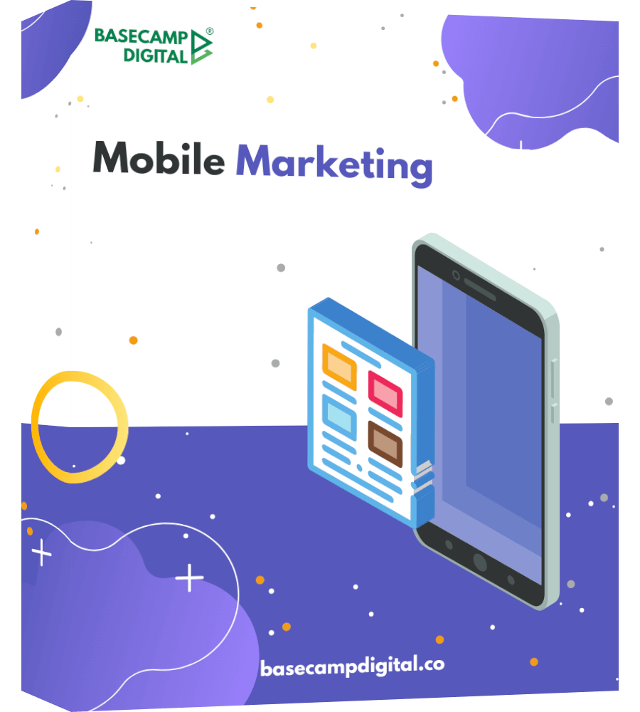 Mobile Marketing one page product mockup